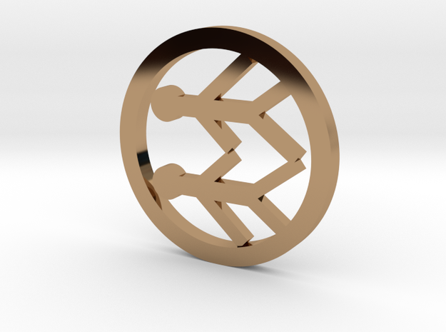 Gemini pendant in Polished Brass