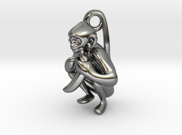 3D-Monkeys 332 in Fine Detail Polished Silver