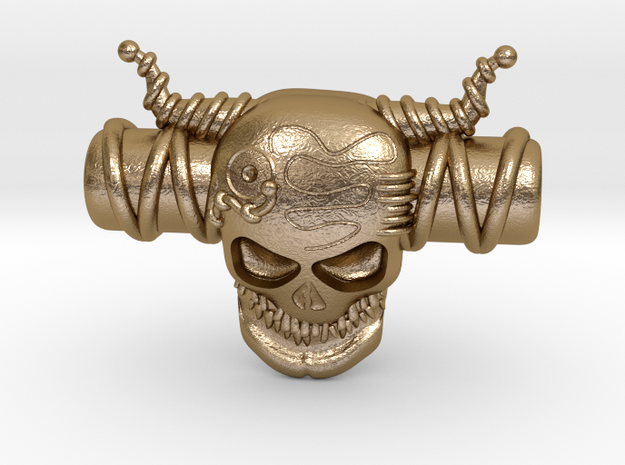 SKULL in Polished Gold Steel