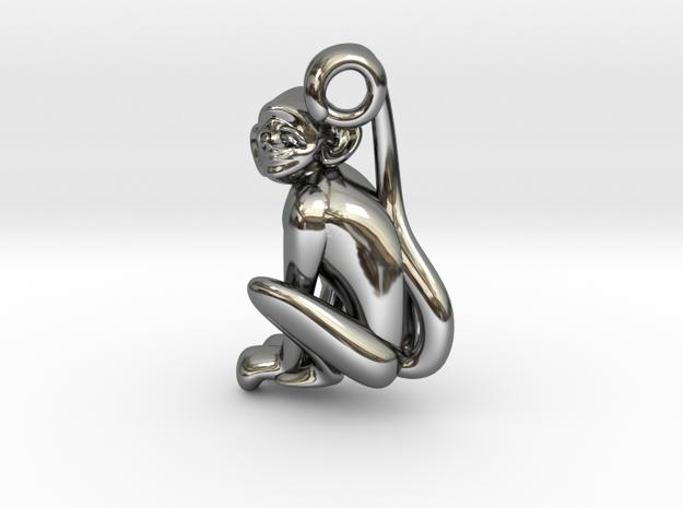 3D-Monkeys 333 in Fine Detail Polished Silver