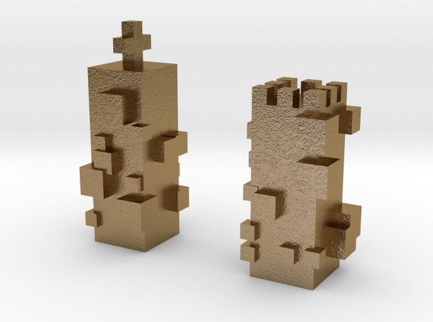 Cubic Chess - King & Queen in Polished Gold Steel
