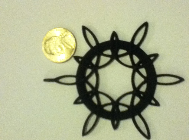 Double Hexafoil Pendant 3d printed Size comparison to a US nickel. Black Strong & Flexible