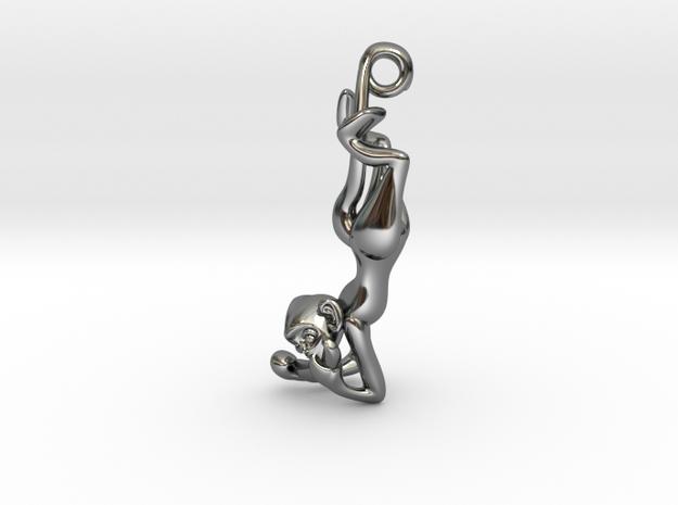 3D-Monkeys 352 in Fine Detail Polished Silver