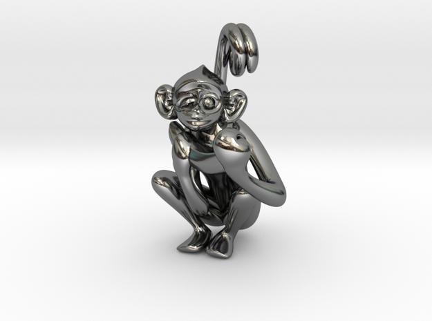 3D-Monkeys 362 in Fine Detail Polished Silver