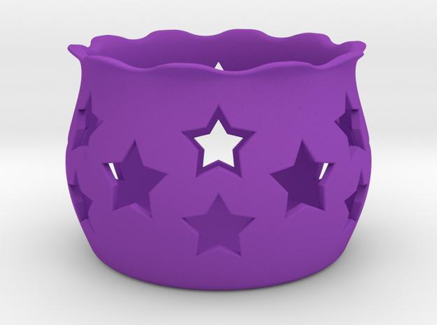Tea Light Holder Star in Purple Strong & Flexible Polished