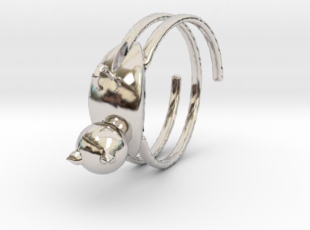 貓咪戒指 in Rhodium Plated Brass