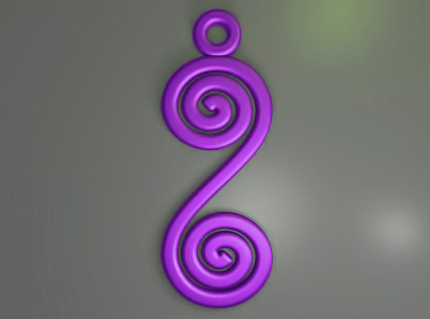 Spirals earring or pendant 3d printed Spirals (Purple)
