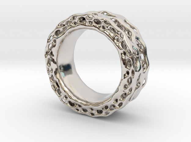 Organixz Ring 4 in Rhodium Plated Brass
