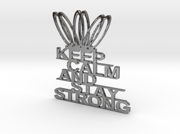 KEEP CLAM AND STAY STRONG KEYCHAINS in Polished Silver