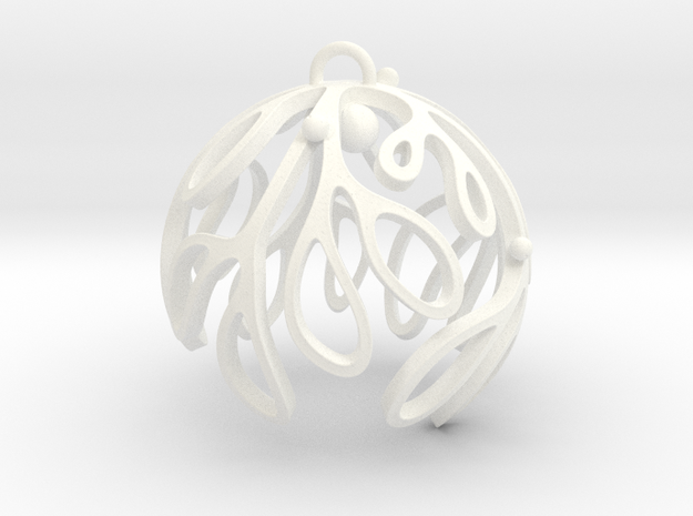 Mistletoe Ornament in White Strong & Flexible Polished