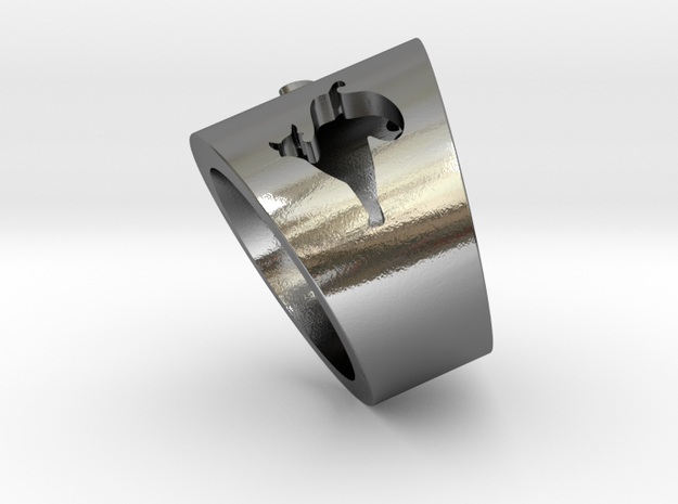 Cat modeling Ring in Polished Silver