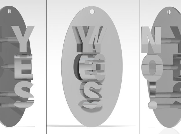 Indecisive Pendant. YES or NO!  in Polished Silver