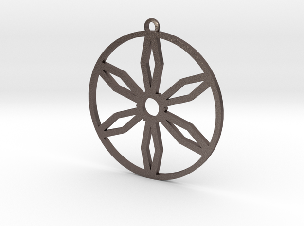 The pendant of snowflake in Polished Bronzed Silver Steel