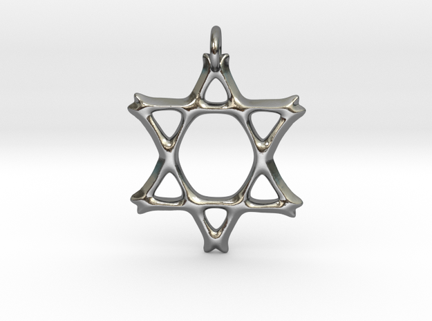 Star of David Pendant 02 in Polished Silver