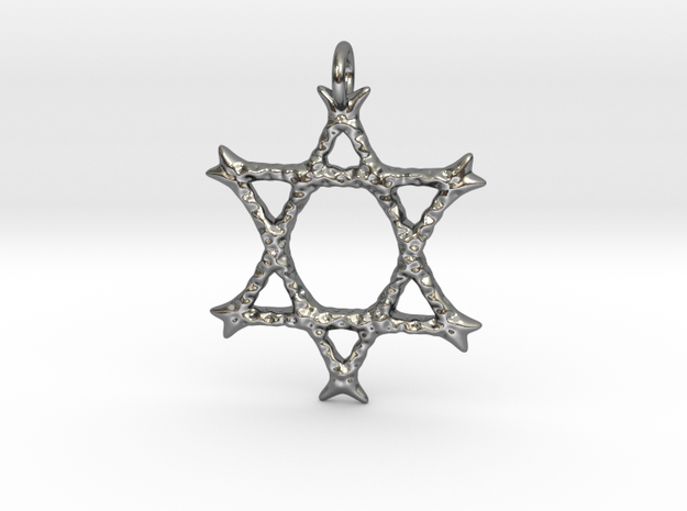 Star of David Pendant 03 in Polished Silver