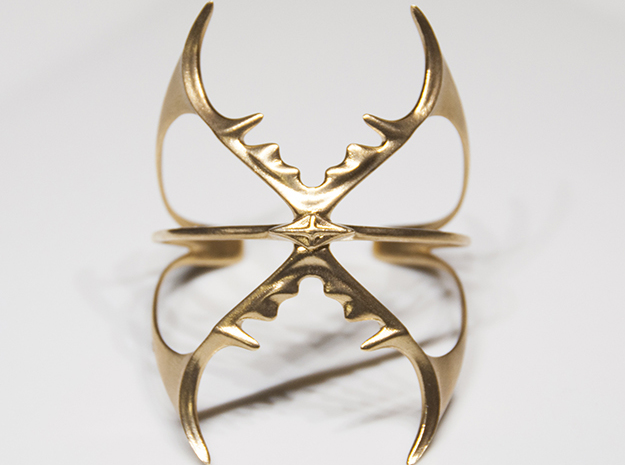 Double Stag Bangle in Natural Brass