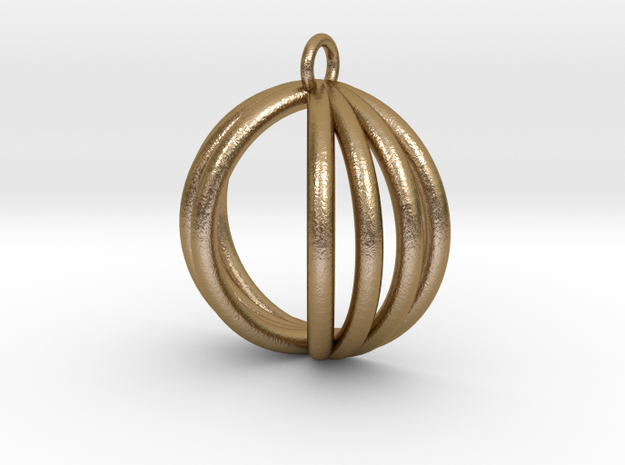 Semispherical Pendant. in Polished Gold Steel