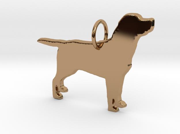 Labrador dog full body silhouette pendant  in Polished Brass