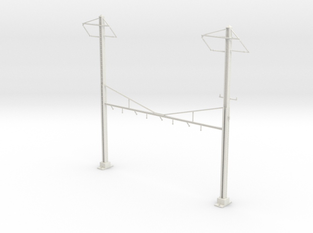HO Scale PRR K Braced 4 Track Y BRACKET 2PH in White Natural Versatile Plastic