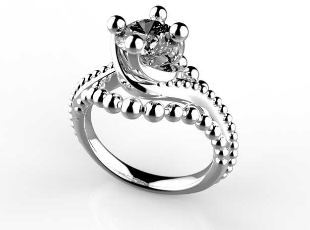 Ic9-B2- Engagement Ring in Smoothest Fine Detail Plastic