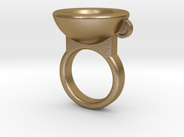 Coffe Cup Ring in Polished Gold Steel