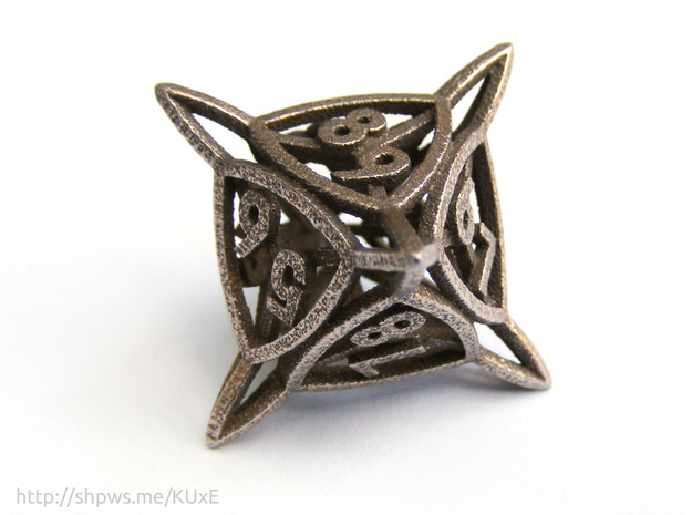 'Center Arc' D8 Tarmogoyf P/T Die in Polished Bronzed Silver Steel