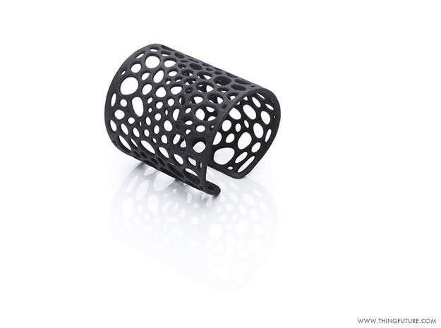 Voronoi bracelet (MEDIUM) in Black Strong & Flexible