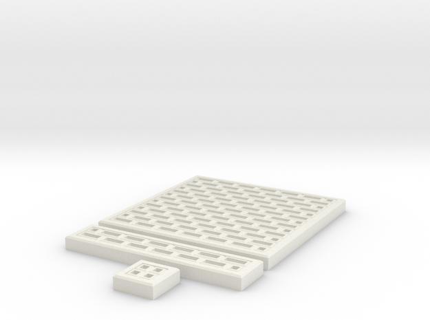 SciFi Tile 07 - Fishbone walkway in White Natural Versatile Plastic