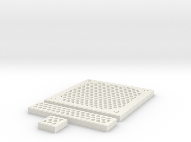SciFi Tile 24 - Circular Grating in White Strong & Flexible