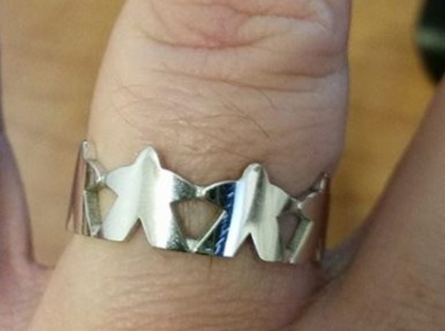 Meeple ring, size 13 1/2 (US) / 71 (ISO) in Rhodium Plated Brass