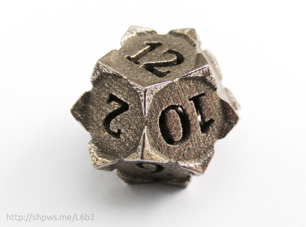 'Starry' D12 balanced die in Polished Bronzed Silver Steel
