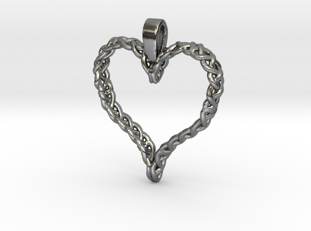 Celtic Heart in Polished Silver