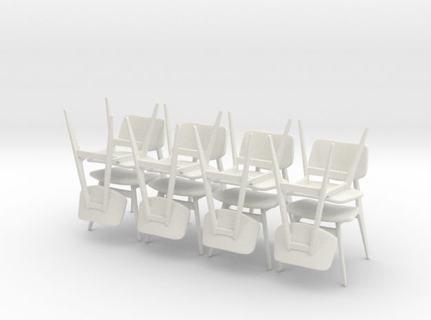1:24 C 275 Chairs Set of 8 in White Natural Versatile Plastic