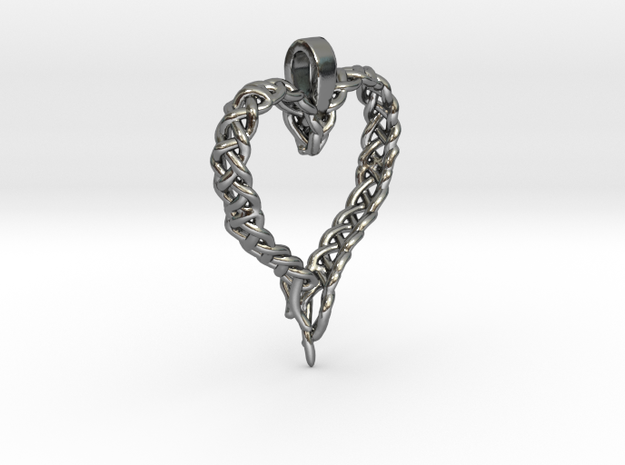 Celtic Unraveled Heart  in Polished Silver