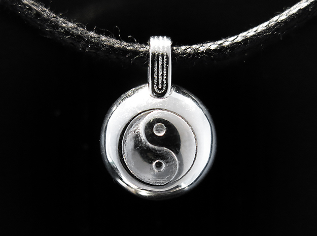 Yin Yang in Rhodium Plated Brass