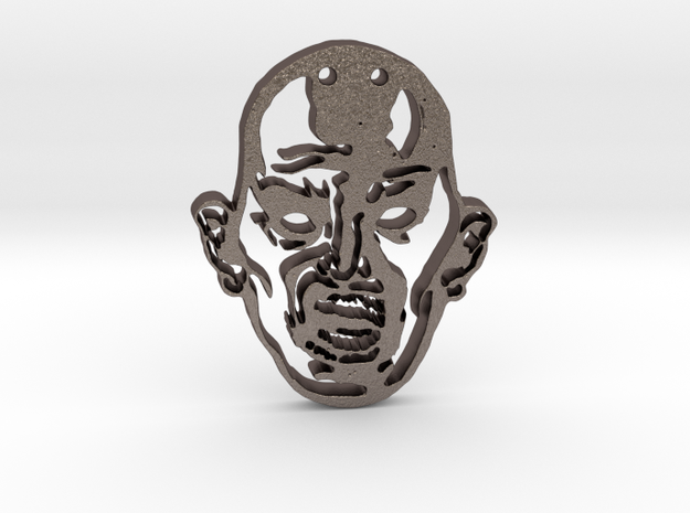 Zombie 0 Pendant in Polished Bronzed Silver Steel