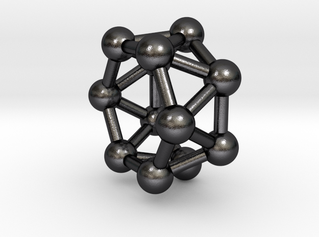 0420 Hexagonal Antiprism (a=1cm) #003 in Polished and Bronzed Black Steel