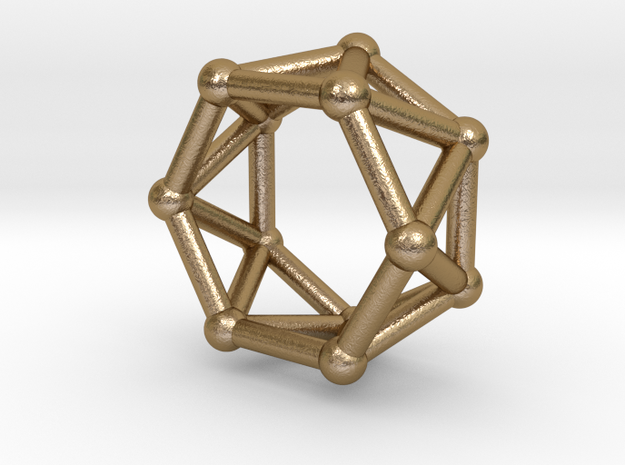 0419 Hexagonal Antiprism (a=1cm) #002 in Polished Gold Steel