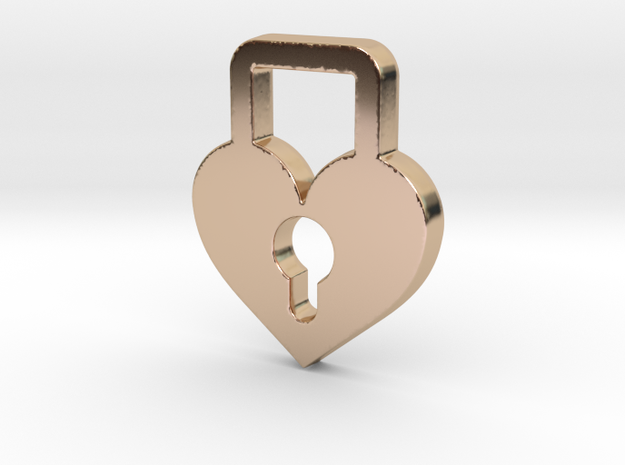Heart Lock Pendant - Amour Collection in 14k Rose Gold Plated Brass