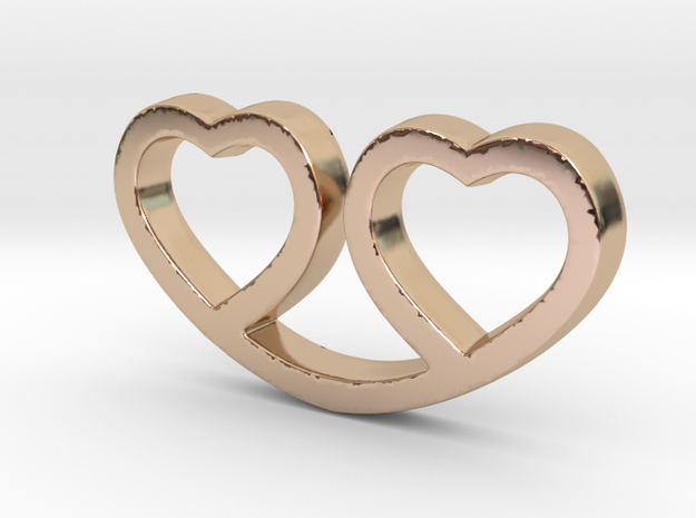 Two Hearts Together Pendant - Amour Collection in 14k Rose Gold Plated Brass