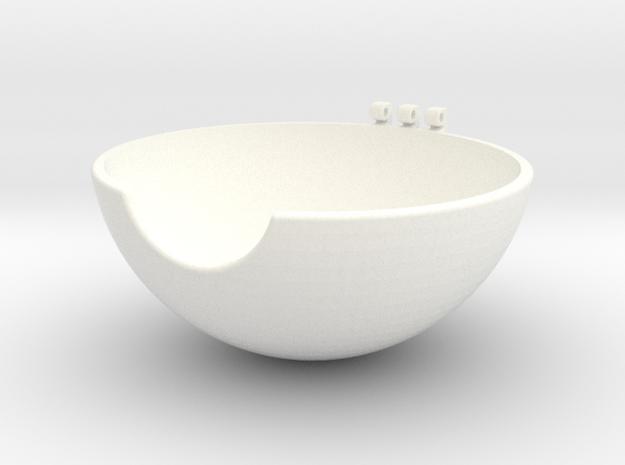 Pokeball Bottom Half in White Strong & Flexible Polished