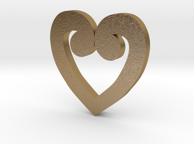 Heart Numero Uno in Polished Gold Steel