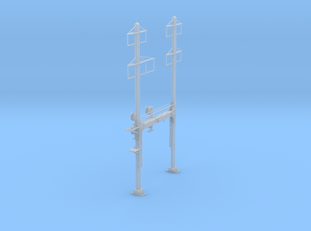 CATENARY PRR BEAM SIGNAL 2 TRACK 2-3 PHASE N SCALE in Frosted Ultra Detail