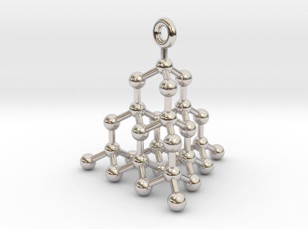 Molecule Pendant in Rhodium Plated