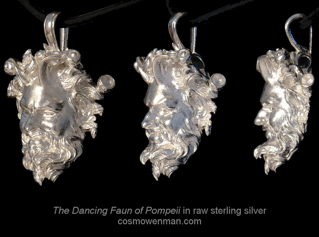 Dancing Faun of Pompeii pendant in Raw Silver