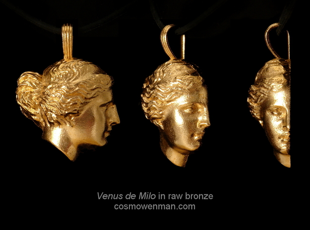 Venus de Milo pendant in Raw Bronze