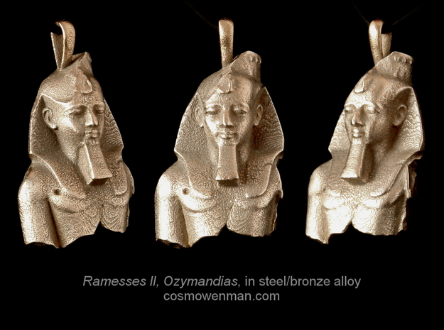 Steel Ramesses II, Ozymandias pendant in Stainless Steel