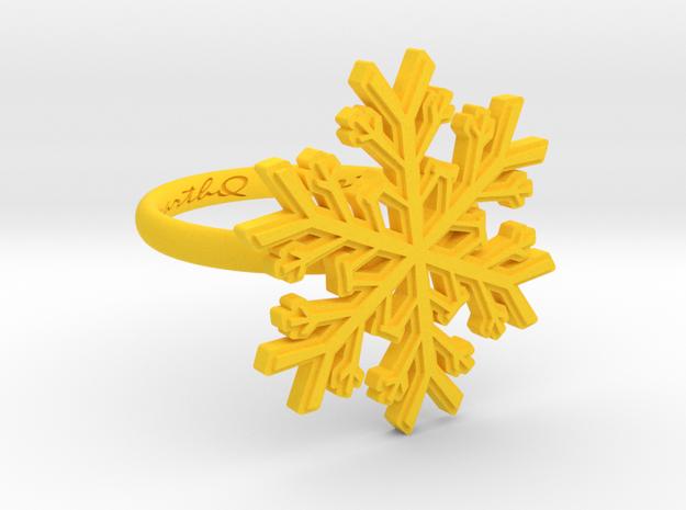 Snowflake Ring 1 d=16.5mm h21d165 in Yellow Processed Versatile Plastic