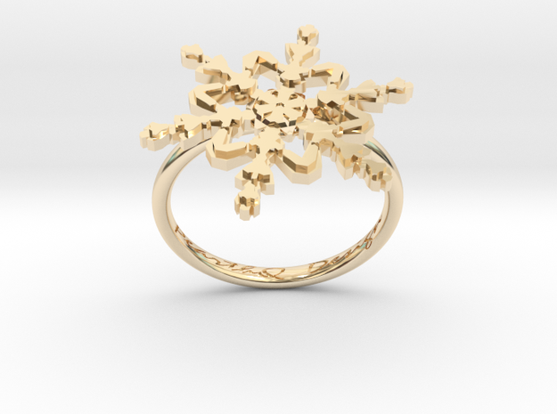 Snowflake Ring 2 d=17.5mm h21d175 in 14k Gold Plated Brass