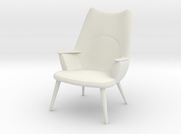 1:24 Wegner Lounge Chair Model AP27 in White Natural Versatile Plastic